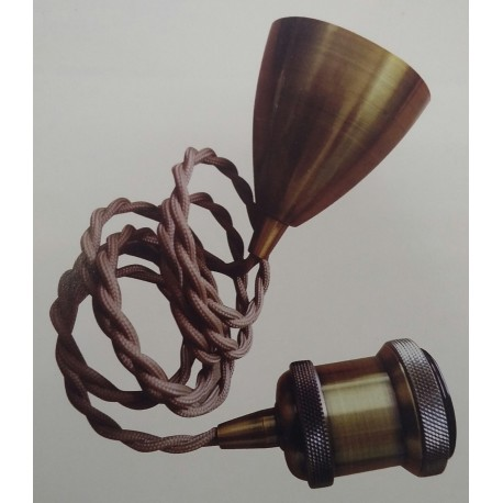 KIT COLGANTE VINTAGE BRONCE ANTIGUO+CABLE MARRON